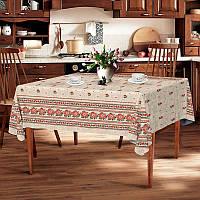 "Скатерть льняная  ""Серый орнамент"" 1.5м х 1.1м (кухонный стол), фото 1"