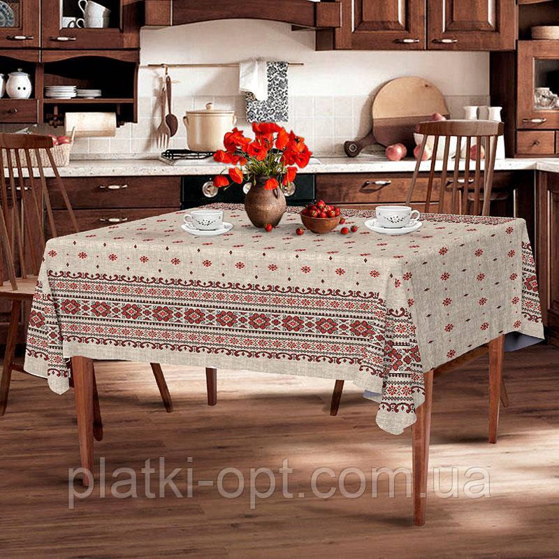 """Скатерть льняная  """"Снежинка серая"""" 1.8м х 1.5м (средний стол)"""