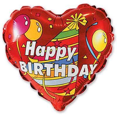 """Фол куля МІНІ-ФІГУРА 9"""" (22 см) Серце Happy birthday червоне (ФМ), фото 2"""