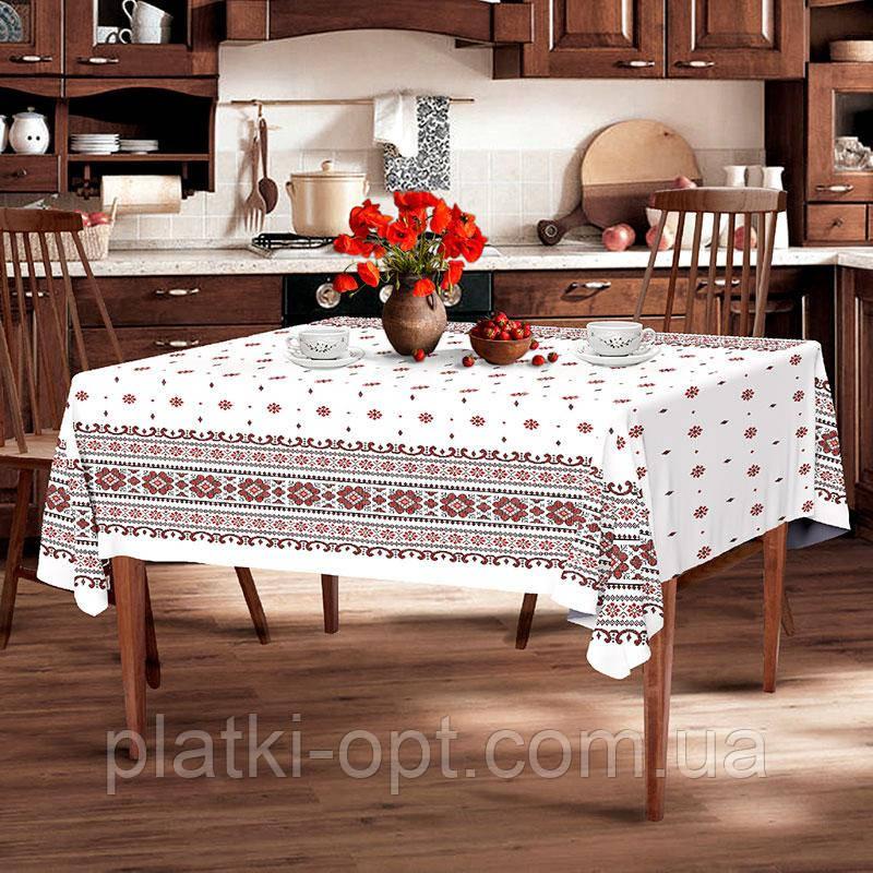 "Скатерть льняная  ""Снежинка белая"" 1.8м х 1.5м (средний стол)"
