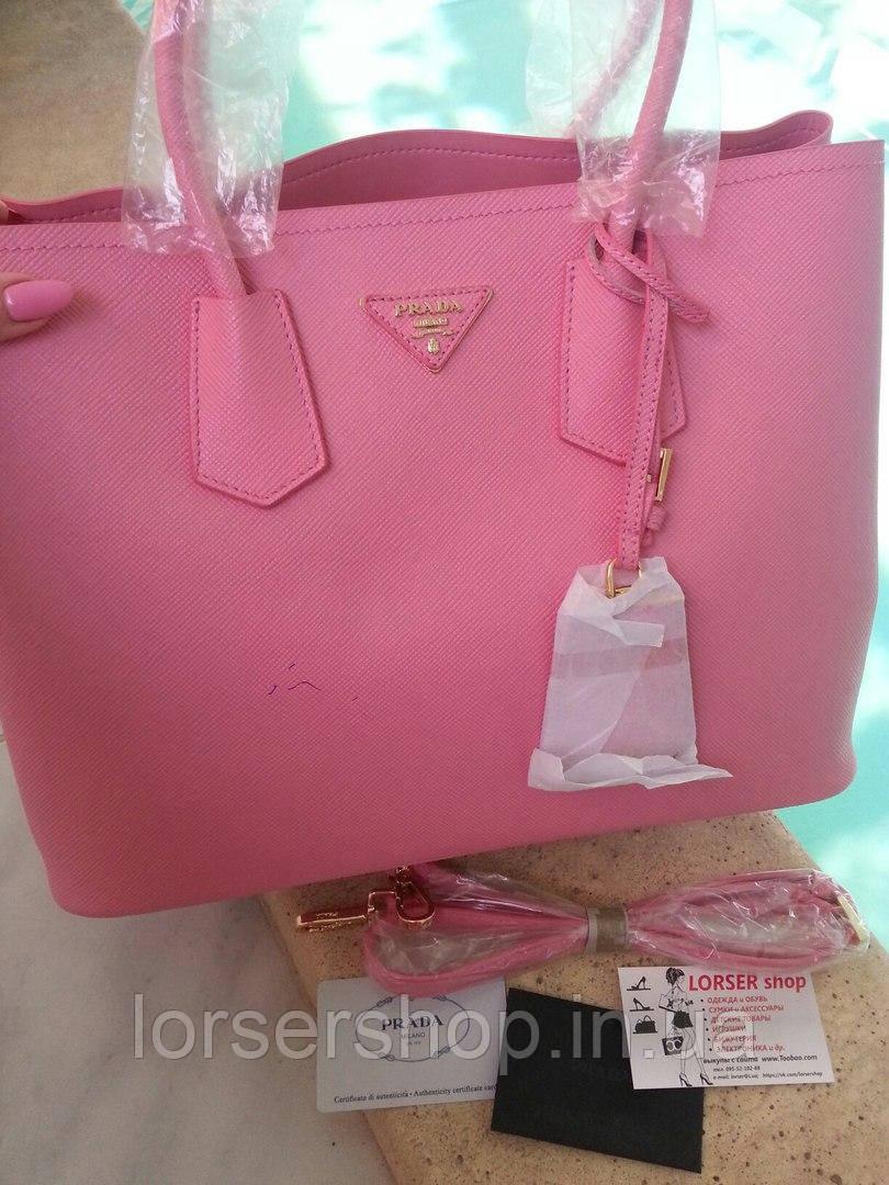 bf8e7f136a2e Сумка Prada Double Bag из кожи Saffiano, вместительная, цвет розовая пудра  - Lorser shop