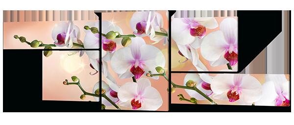 Модульная картина Interno Эко кожа Ветви орхидей  204х76см (А397XL)