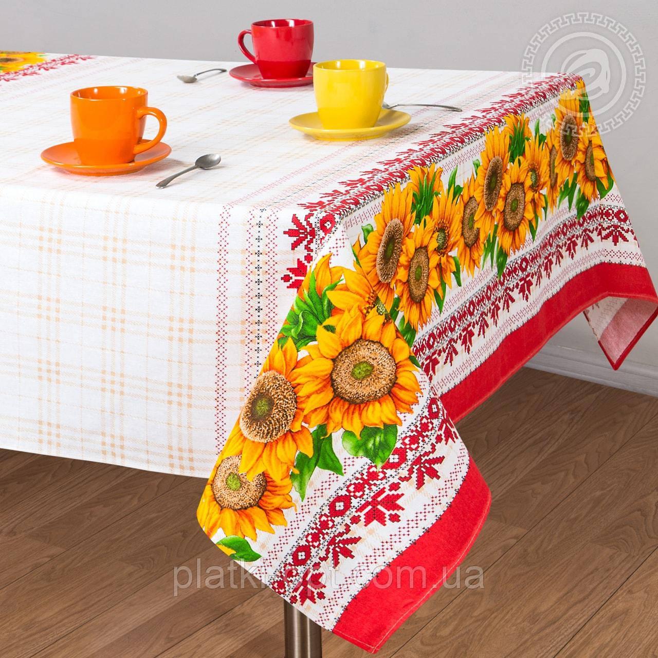 """Скатерть льняная  """"Хуторянка"""" 2.2м х 1.5м (раскладной стол)"""