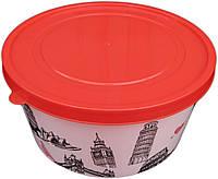 Ёмкость для пищевых продуктов пластиковая круглая с декором 1,6 литра (ПолимерАгро, Харьков), фото 1