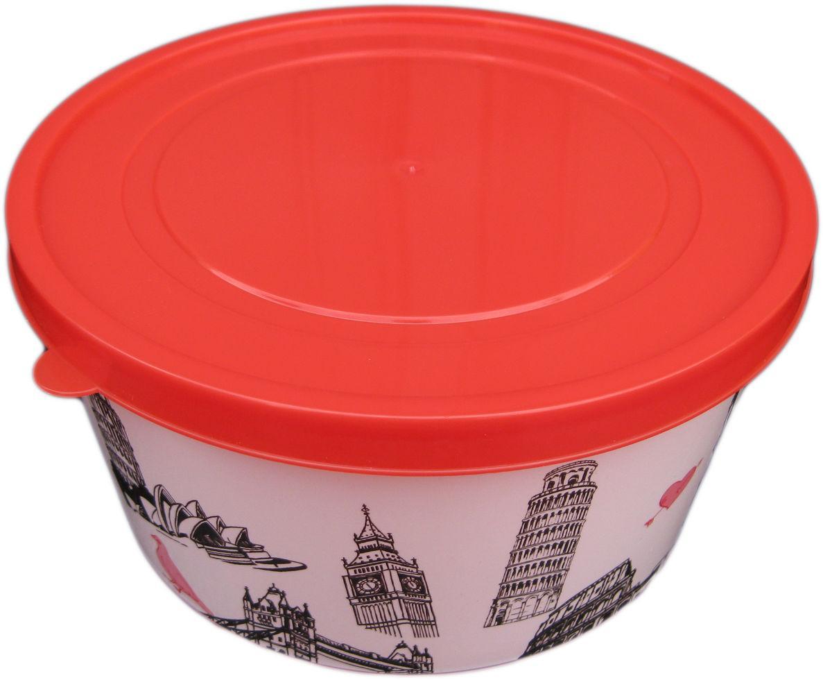 Ёмкость для пищевых продуктов пластиковая круглая с декором 1,6 литра (ПолимерАгро, Харьков)