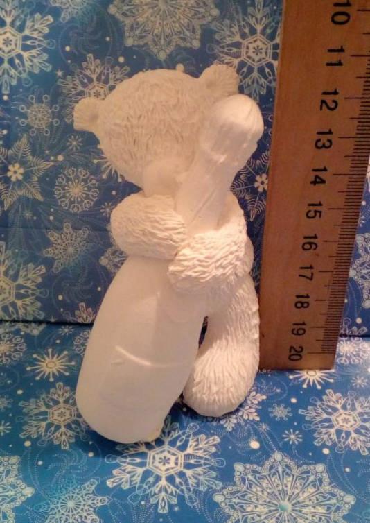 Гипсовая фигурка для раскрашивания статуэтка. Гіпсова фігурка для розмальовування. Мишка с бутылкой. Тедди
