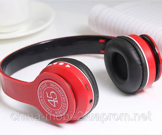P45 wireless headphone в стилі monster beats solo, Bluetooth навушники з FM і MP3, червоні, фото 2