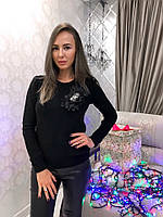 Модный женский свитер Бант шифон чёрный