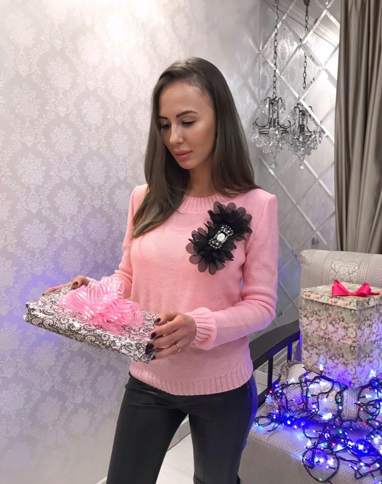 Модный женский свитер Бант шифон розовый