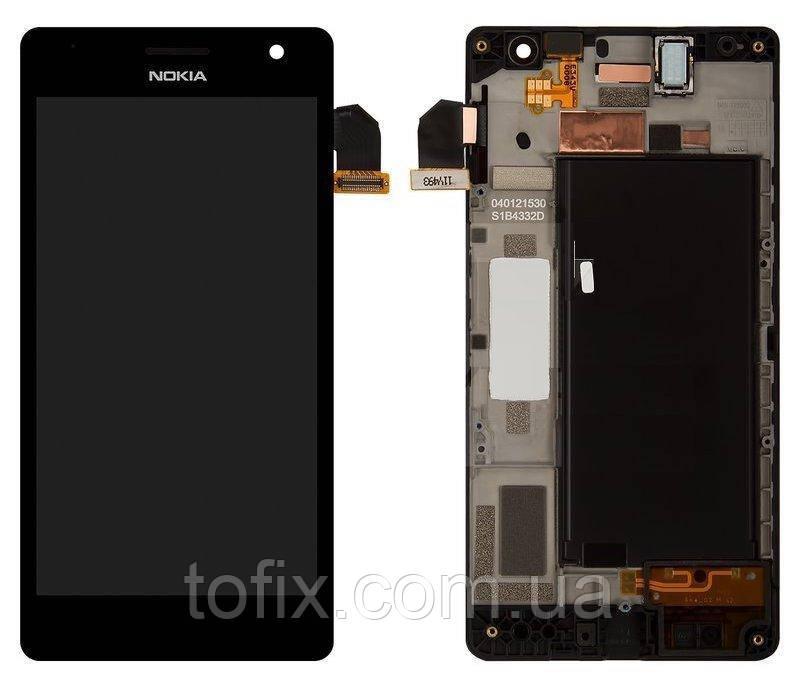 Дисплей для Nokia Lumia 730, Nokia Lumia 735, модуль (экран и сенсор), с рамкой, черный, оригинал