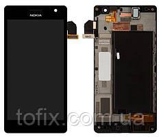 Дисплей для Nokia Lumia 730, Nokia Lumia 735, модуль в сборе (экран и сенсор), с рамкой, черный, оригинал