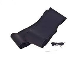 Чехол/оплетка на руль VSF-H68/4 L (39-41) черный/обшиваемая/перфорированная кожа/4 шва - Чехол на рулевое колесо универсальный