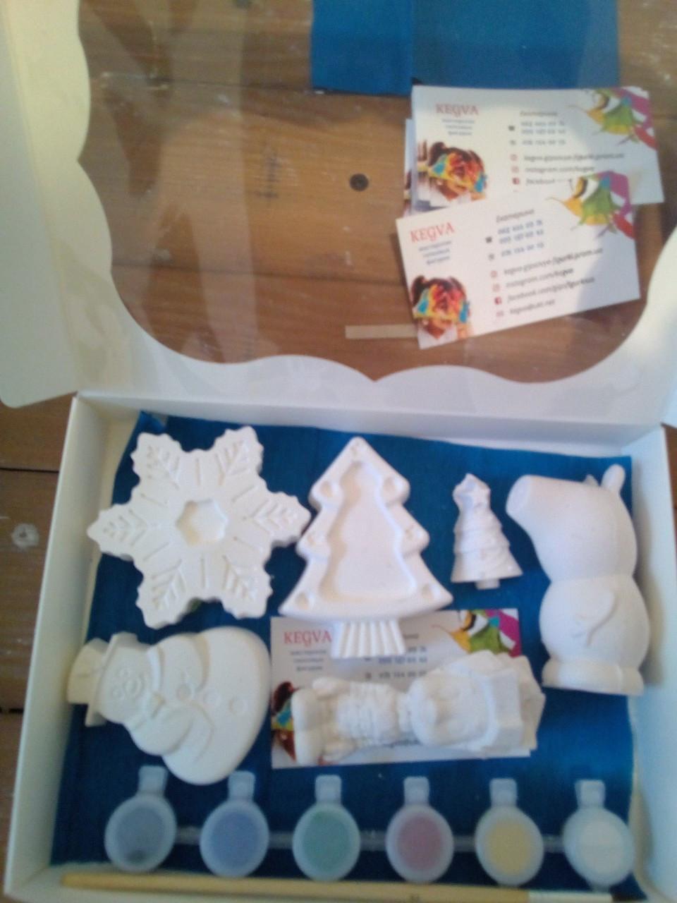 Новогодний набор гипсовых фигурок для творчества. Різдвяний набір гіпсових фігурок для творчості №53