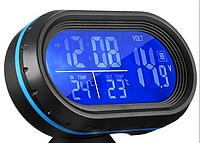 Автомобильные часы с термометром и вольтметром VST 7009V (Синий - Оранжевый), фото 1