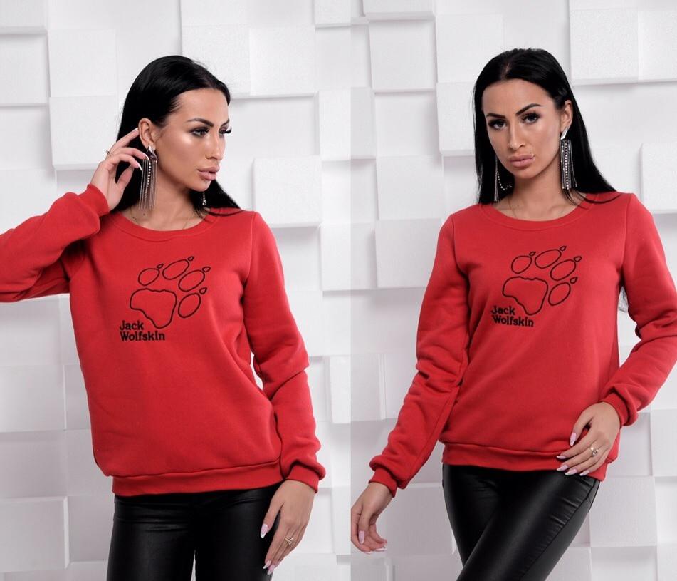 Свитшот на флисе красного цвета Jack Wolfskin 42-46 р, женские свитшоты оптом от производителя