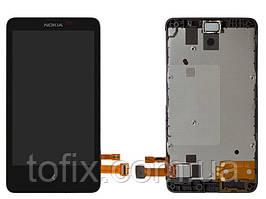 Дисплей для Nokia X Dual Sim (RM-980), модуль в сборе (экран и сенсор), с рамкой, черный, оригинал