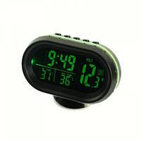 Автомобильные часы с термометром и вольтметром VST 7009V (Зеленый - Оранжевый)
