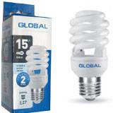 Лампа энергосберегающая 15 Вт Е27 спираль Глобал