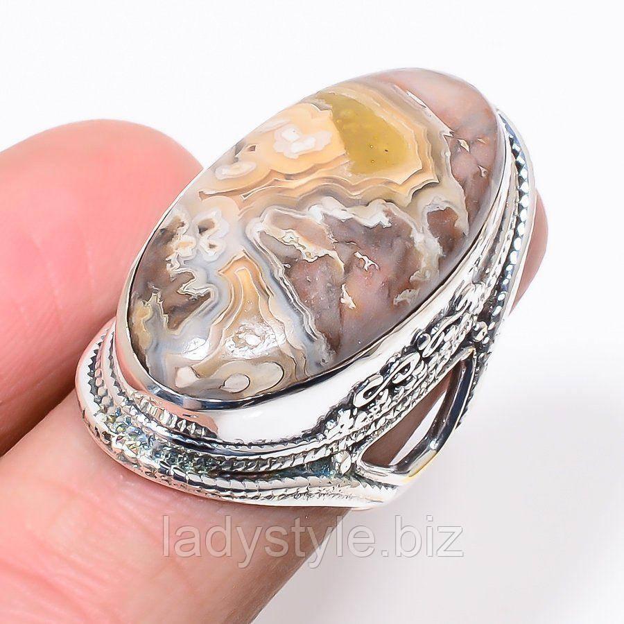 """Яркое кольцо с агатом """"Падишах"""" , размер 17.9 от Студии  www.LadyStyle.Biz"""