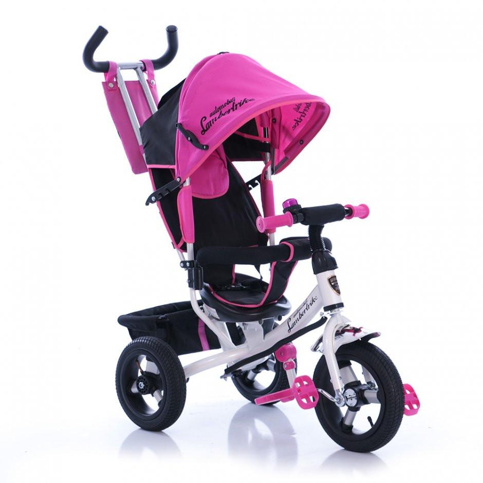Детский трехколесный велосипед Azimut AIR Lambortrike розово-белый надувные колеса