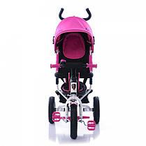 Детский трехколесный велосипед Azimut AIR Lambortrike розово-белый надувные колеса, фото 3