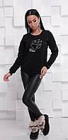 Модный свитшот на флисе черного цвета Jack Wolfskin 42-46 р, женские свитшоты оптом