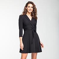 Черное шелковистое платье с запахом., фото 1