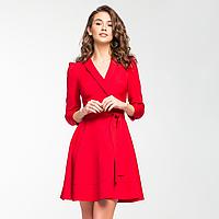 Красное шелковистое платье с запахом., фото 1