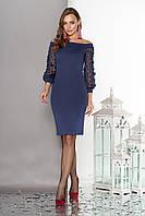 Синее нарядное платье с красивыми рукавами