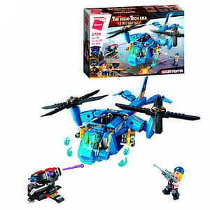 Конструктор 2709 (30шт) вертолет, оружие, фигурки, 318дет, в кор-ке, 32,5-22-6см