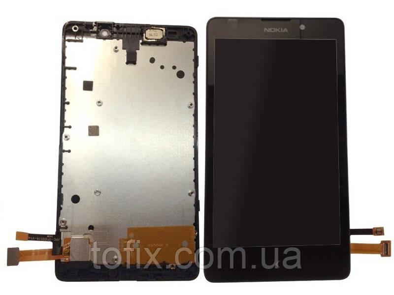 Дисплейный модуль (экран и сенсор) для Nokia XL Dual Sim RM-1030, RM-1042, RM-1061, с рамкой, черный, оригинал