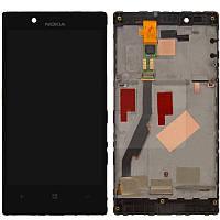 Дисплей для Nokia Lumia 720, модуль в сборе (экран и сенсор), с рамкой, черный, оригинал