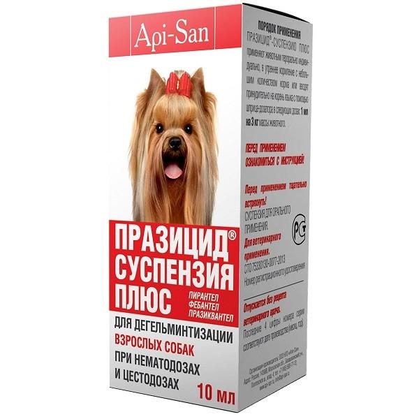 Празіцид суспензия плюс для дегельминтизації при нематодозах та цестодозах для дорослих собак 10 мл