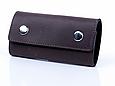 Ключниця шкіряна з карабінами закривається на кнопки Shabby. Колір коричневий, фото 2