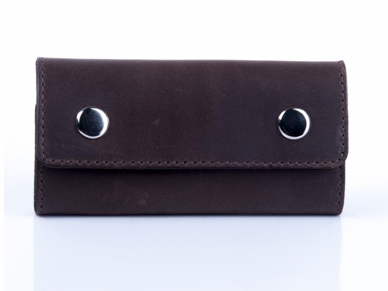 Ключниця шкіряна з карабінами закривається на кнопки Shabby. Колір коричневий