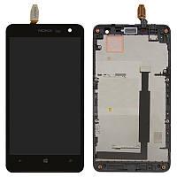 Дисплей для Nokia Lumia 625 (RM-941), модуль в сборе (экран и сенсор), с рамкой, черный, оригинал