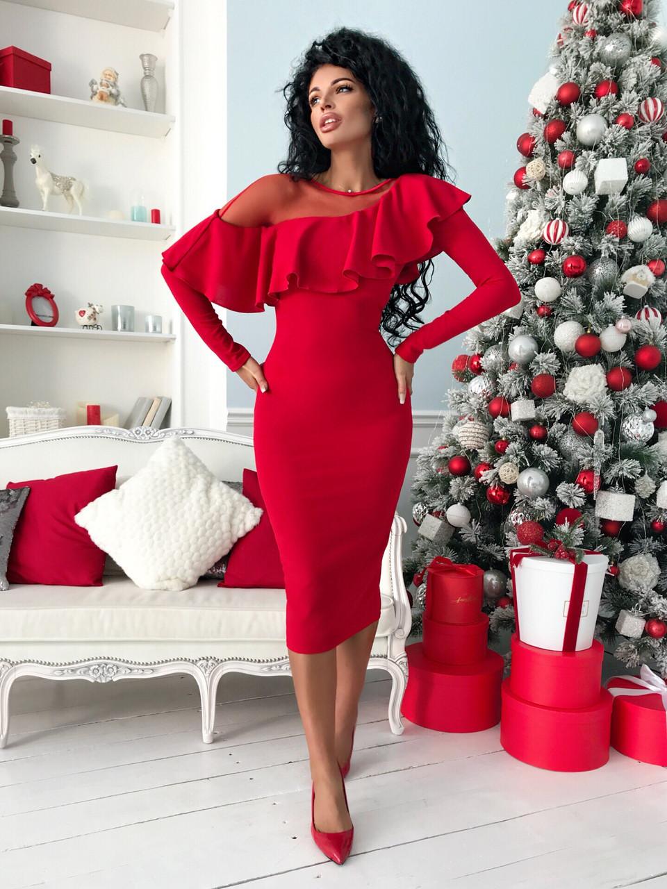 Красное коктейльное платье с сеткой 42-54рр.