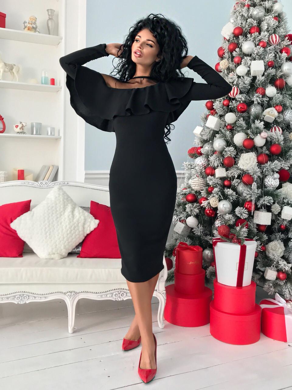 Черное женское коктейльное платье 42-54рр.