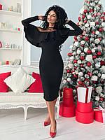 Черное женское коктейльное платье 42-54рр., фото 1