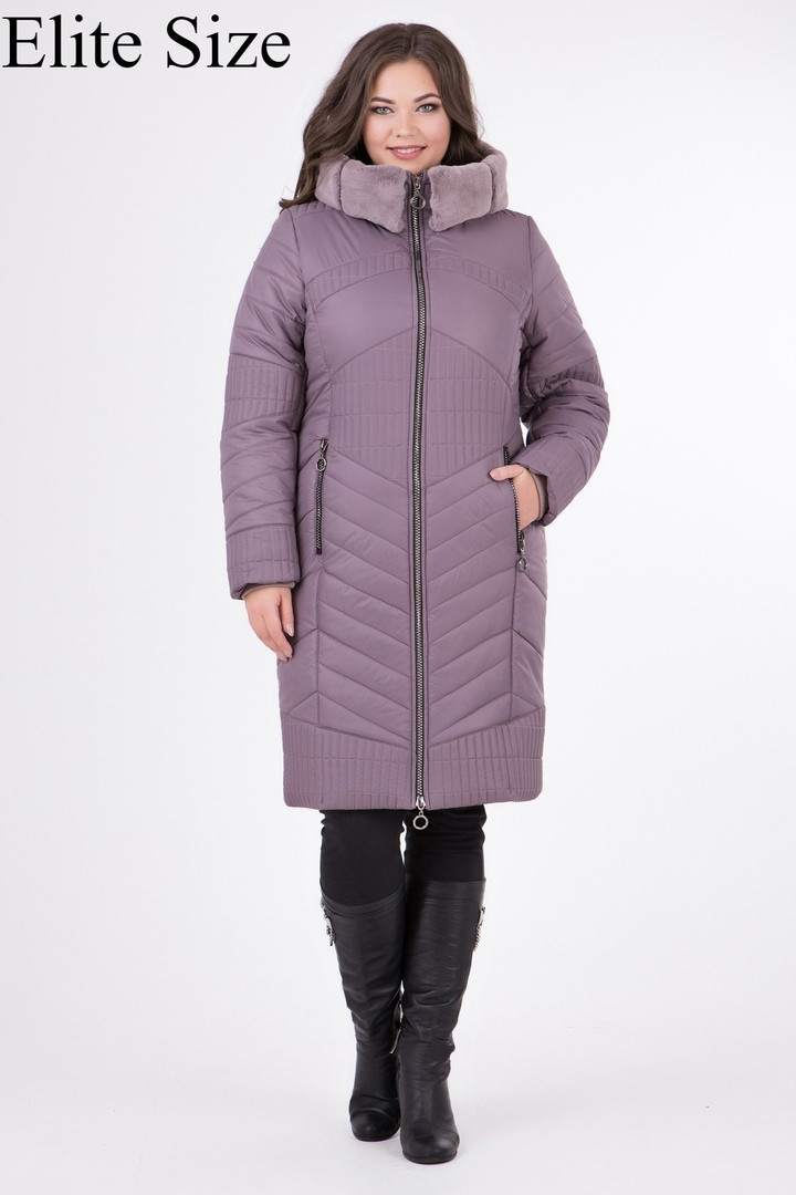 Женское зимнее пальто с мехом на синтепоне Размеры 50,52,54,56,58,60