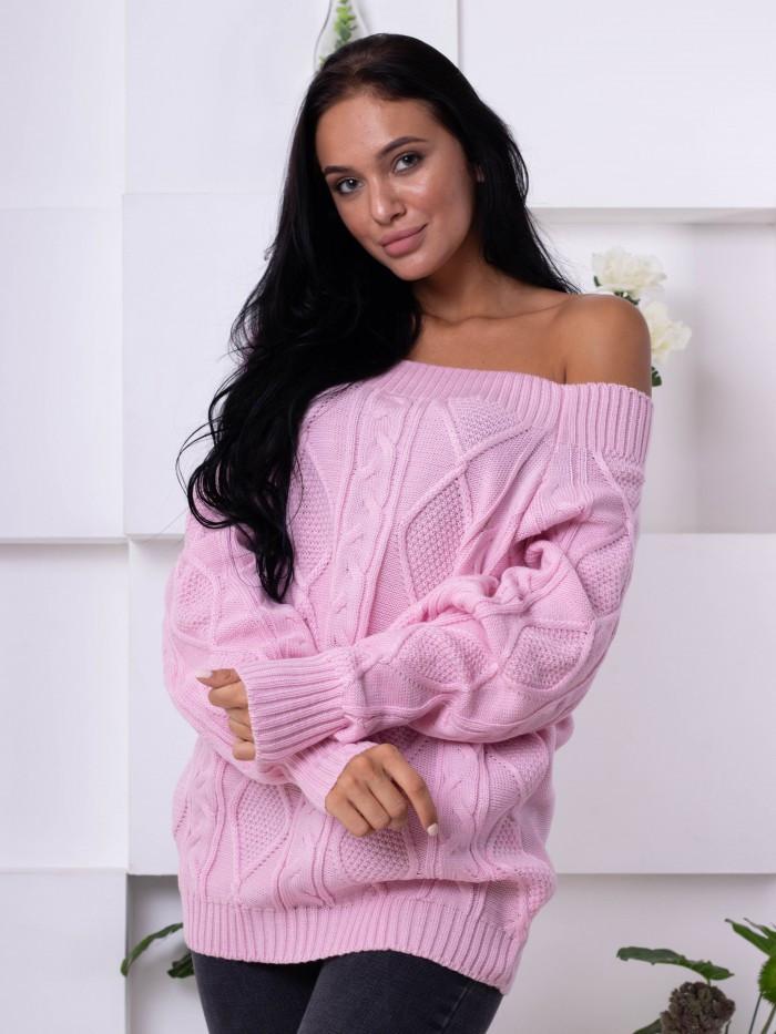 Розовый женский свитер - открытые плечи