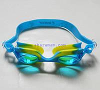 Очки для плавания «Рыбки» (детские, антифог, силиконовая переносица). Цвет голубой/жёлтый., фото 1