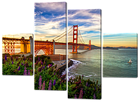 Модульная картина Interno Холст Вид на мост 146x108см (R490L)