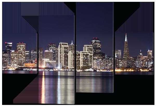 Модульная картина Interno Эко кожа Ночной город 106х71см (A486S)