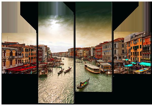 Модульная картина Interno Эко кожа Канал в Венеции 126х85см (A487M)