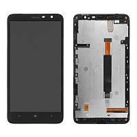 Дисплей для Nokia Lumia 1320, модуль в сборе (экран и сенсор), c рамкой, черный, оригинал