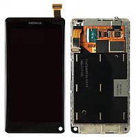 Дисплейный модуль (дисплей и сенсор) для Nokia N9, с рамкой, черный, оригинал