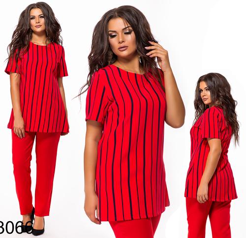 d4b547f9c08 Купить Стильный брючный костюм + блузка в полоску (красный) 823066 ...