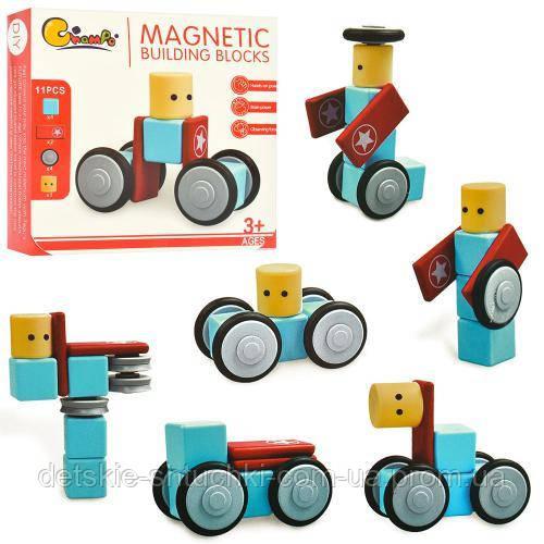 Конструктор 711.магнитный, транспорт, 11дет, в кор-ке