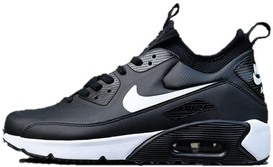 0f01862c Мужские кроссовки Nike Air Max 90 Ultra MID Winter Black White (Найк аир  макс 90
